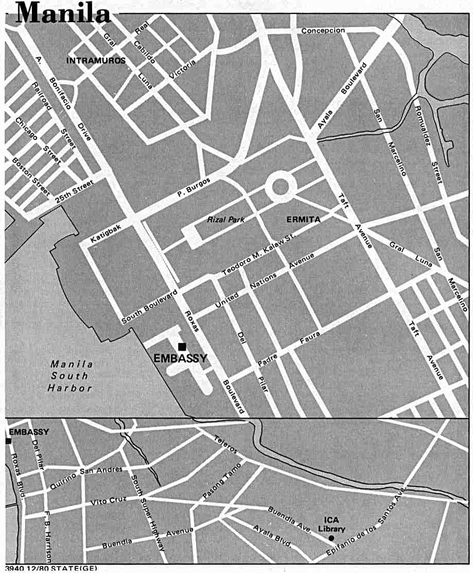 Black-&-white map of central Manila. About 12-3/4 x 15-1/2 inches. (73 ...